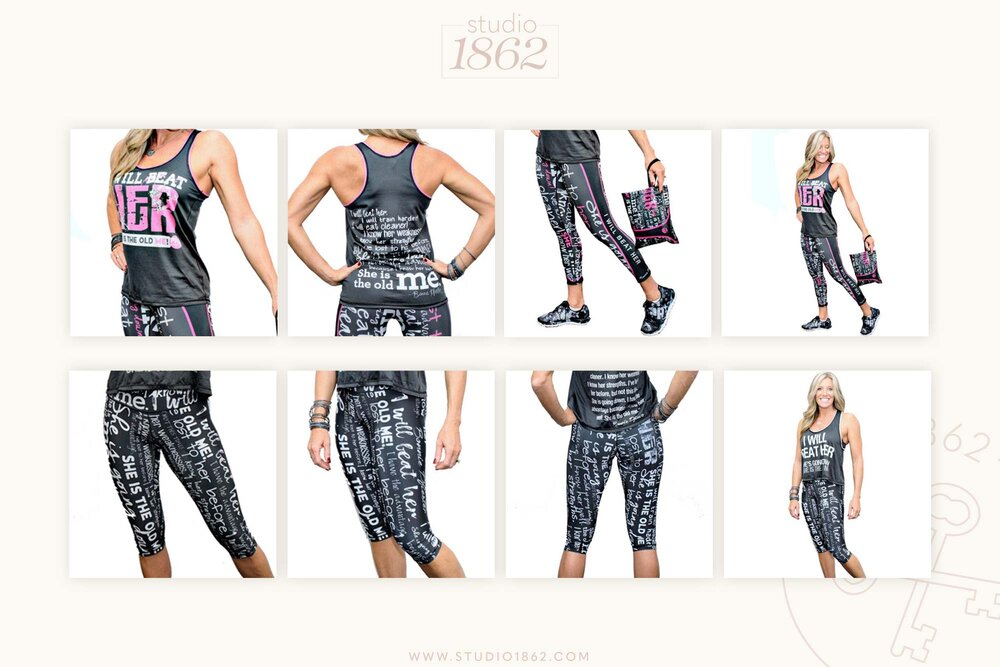 "This athletic apparel line was created from my design, which was based on one of Bonnie Pfiester's  (of Max Fitness Club in Vero Beach, FL)  most popular motivational quotes. The entire quote reads:    ""I will beat her. I will train harder! I will eat cleaner! I know her weaknesses. I know her strengths. I've lost to her before, but not this time! She is going down! I have the advantage, because I know her well.  She is the old me ."" – Bonnie Pfiester   This line can currently be purchased  here ."