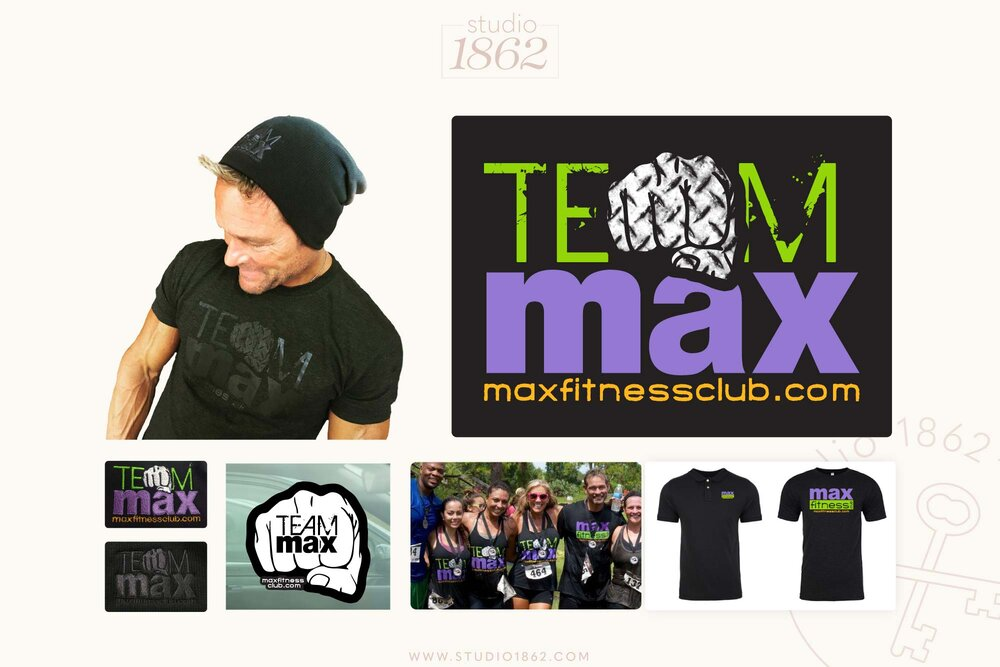This is a design for Bonnie & Steve Pfiester of Max Fitness Club in Vero Beach, FL. The design was created for the different body competition teams at Max, so the members could have uniforms to wear at each event.     Printed : T-shirts, tank tops, lunch boxes, and pants    Embroidered : caps, beanies, full-zip hoodies, & a window decal is in the works    Apparel Vendor: KenYoungCo.com