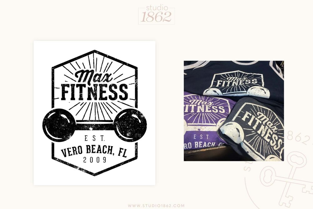 This was a vintage inspired t-shirt design for Bonnie and Steve Pfiester  (of Max Fitness Club in Vero Beach, FL) . It was screenprinted on both t-shirts and tank tops.    Apparel Vendor: KenYoungCo.com