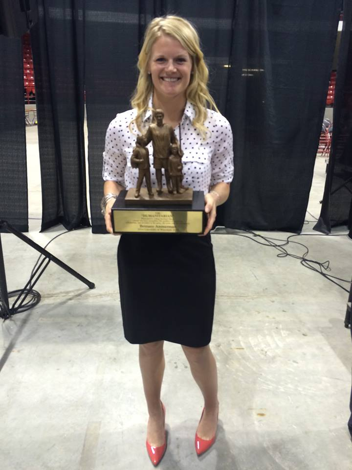 NSL Founder, Brittany Ammerman, was awarded the Hockey Humanitarian Award in 2015- it is awarded to the college hockey player, male or female, D1 or D3, who exemplifies community service while competing at the collegiate level.