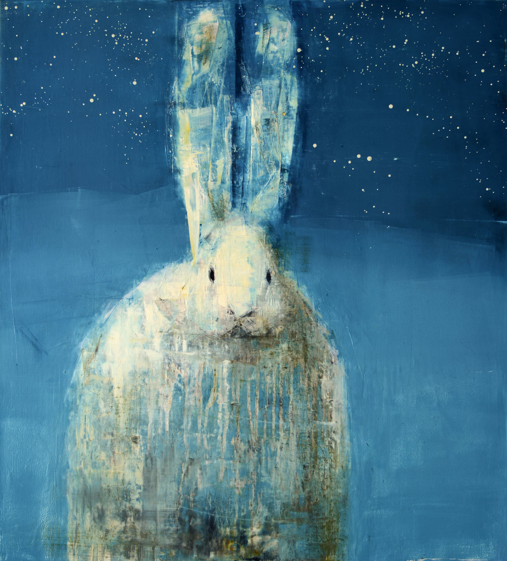 WHITE RABBIT (STARRY NIGHT)   -PRIVATE COLLECTION-  33 x 30 inches  oil and wax on linen