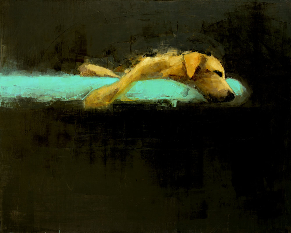 YELLOW DOG DREAMING    -PRIVATE COLLECTION-  48 x 60 inches  oil and wax on linen