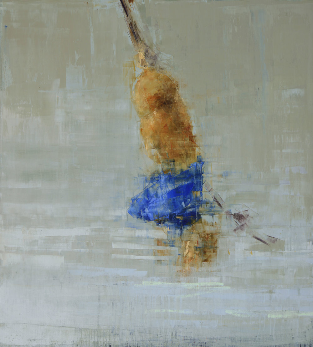 ROPE SWING (BLUE ON BLUE)   -PRIVATE COLLECTION-  64 x 58 inches  oil and wax on linen