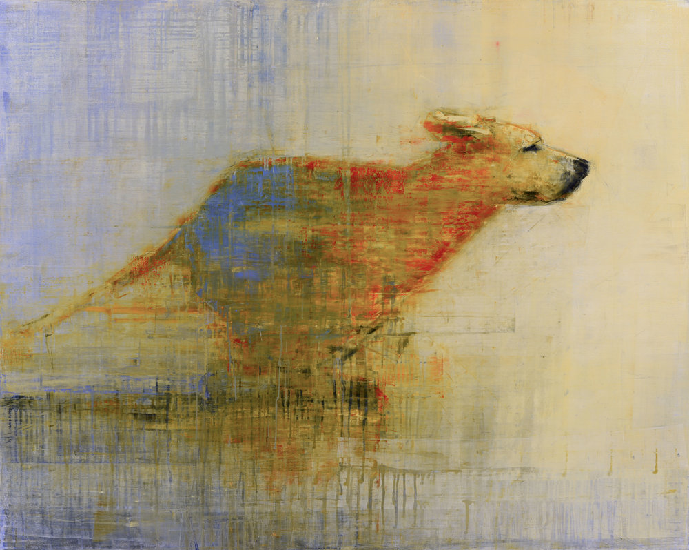 RUNNING DOG (INTO THE SUN)   -PRIVATE COLLECTION-  48 x 60 inches  oil and wax on linen