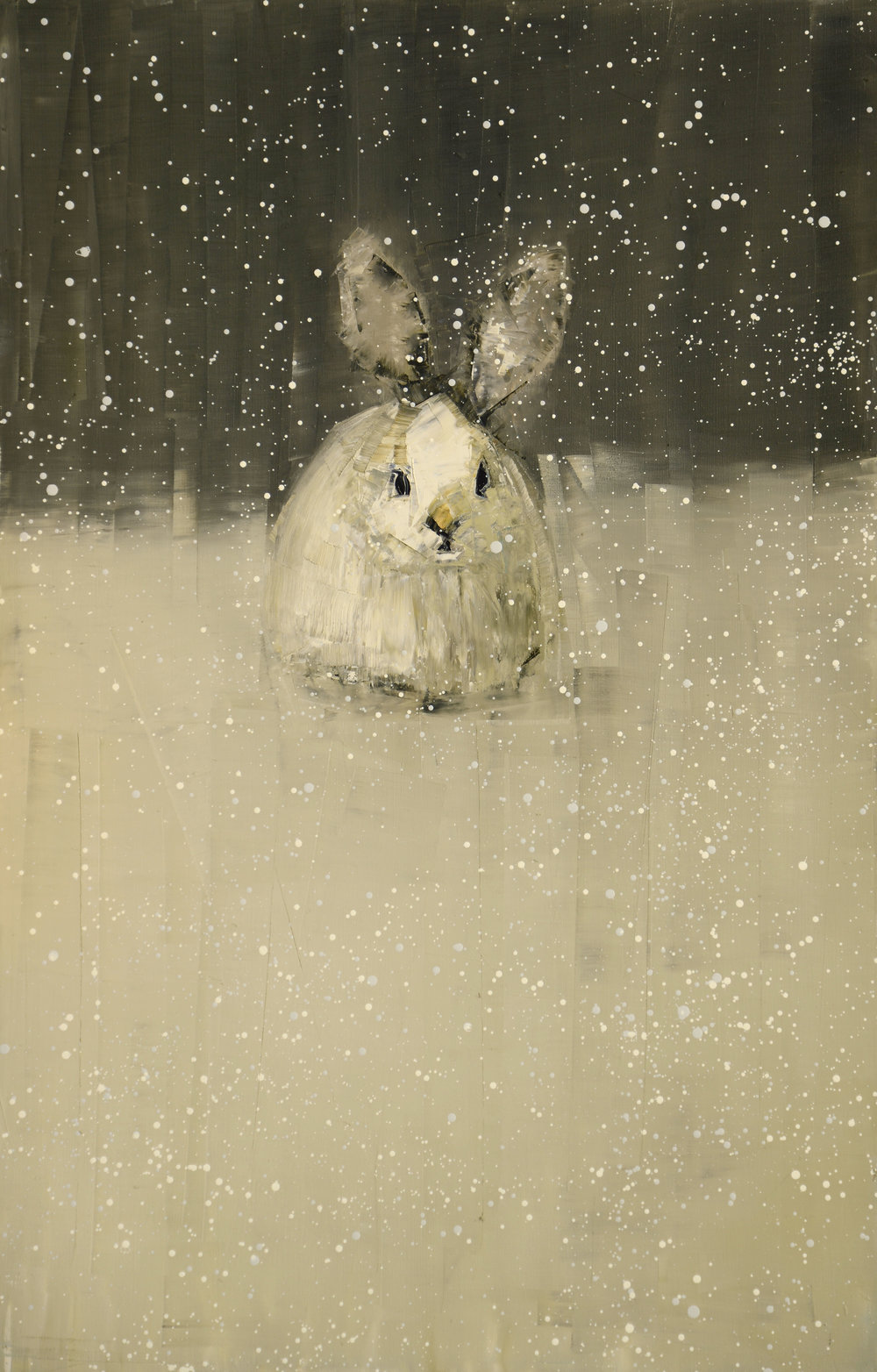 SNOWSHOE HARE NO. 2    -PRIVATE COLLECTION-  46 x 30 inches  oil and wax on linen