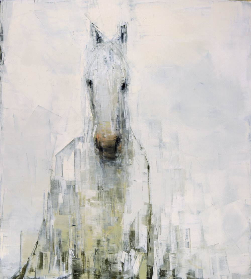 WHITE HORSE (ON WHITE)   -PRIVATE COLLECTION-  64 x 58 inches  oil and wax on linen