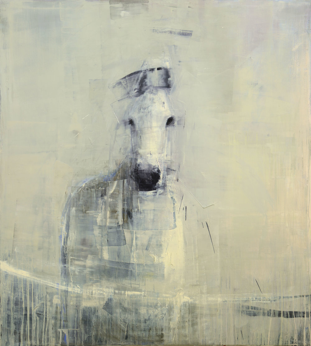 WHITE HORSE  NO. 5   -PRIVATE COLLECTION-  64 x 58 inches  oil and wax on linen