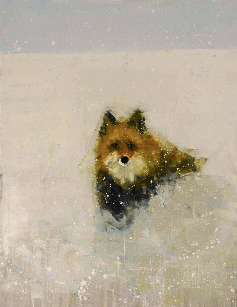 RED FOX (WINTER FIELD)   -PRIVATE COLLECTION-  54 x 42 inches  oil and wax on linen