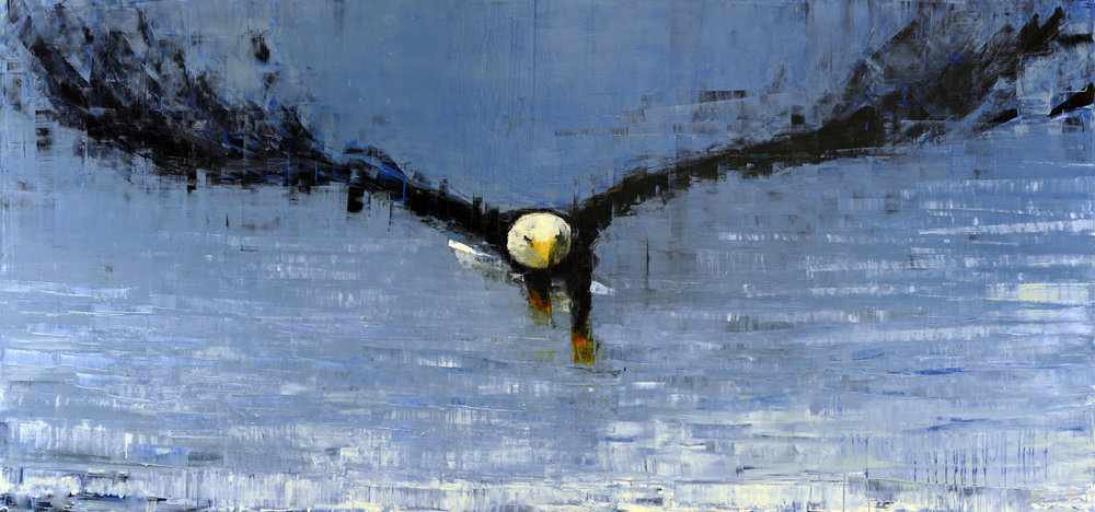 BALD EAGLE (SHINING SEA)   -PRIVATE COLLECTION-  50 x 106 inches  oil and wax on linen