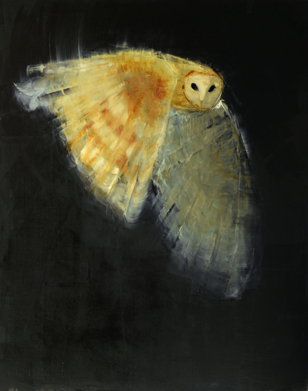 BARN OWL (HUNTING)   -PRIVATE COLLECTION-  60 x 48 inches  oil and wax on linen