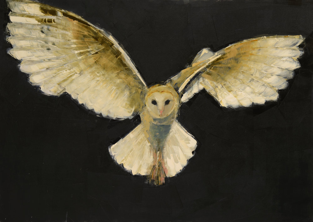 BARN OWL IN FLIGHT   -PRIVATE COLLECTION-  50 x 70 inches  oil and wax on linen