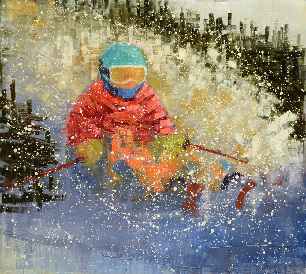 POWDER (BIG MOUNTAIN)   -PRIVATE COLLECTION-  58 x 64 inches  oil and wax on linen