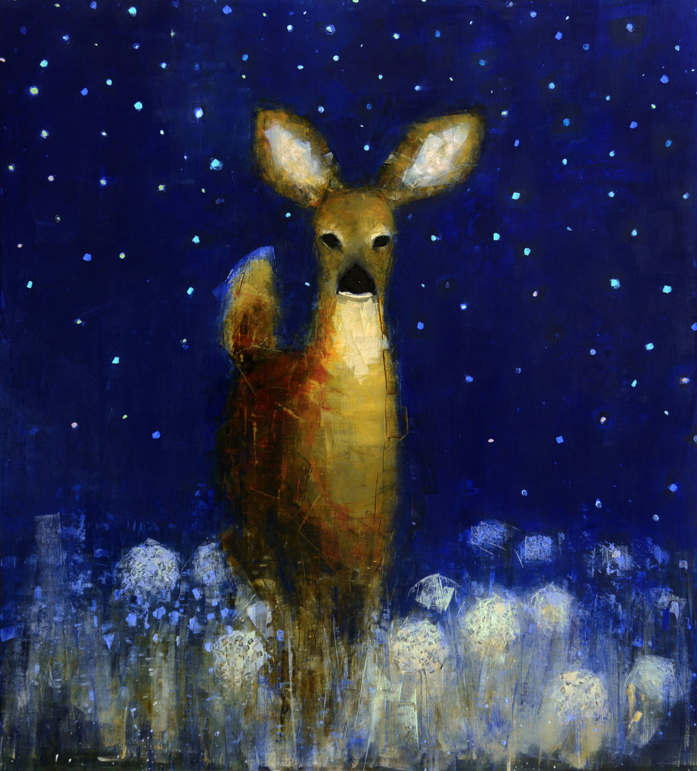 DOE (STARRY NIGHT)   -PRIVATE COLLECTION-  64 x 58 inches  oil and wax on linen
