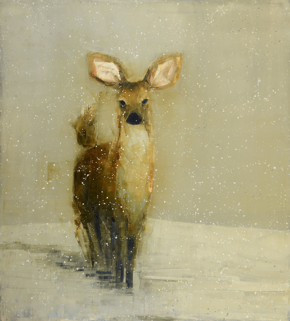 DOE (WINTER FIELD)   -PRIVATE COLLECTION-  64 x 58 inches  oil and wax on linen