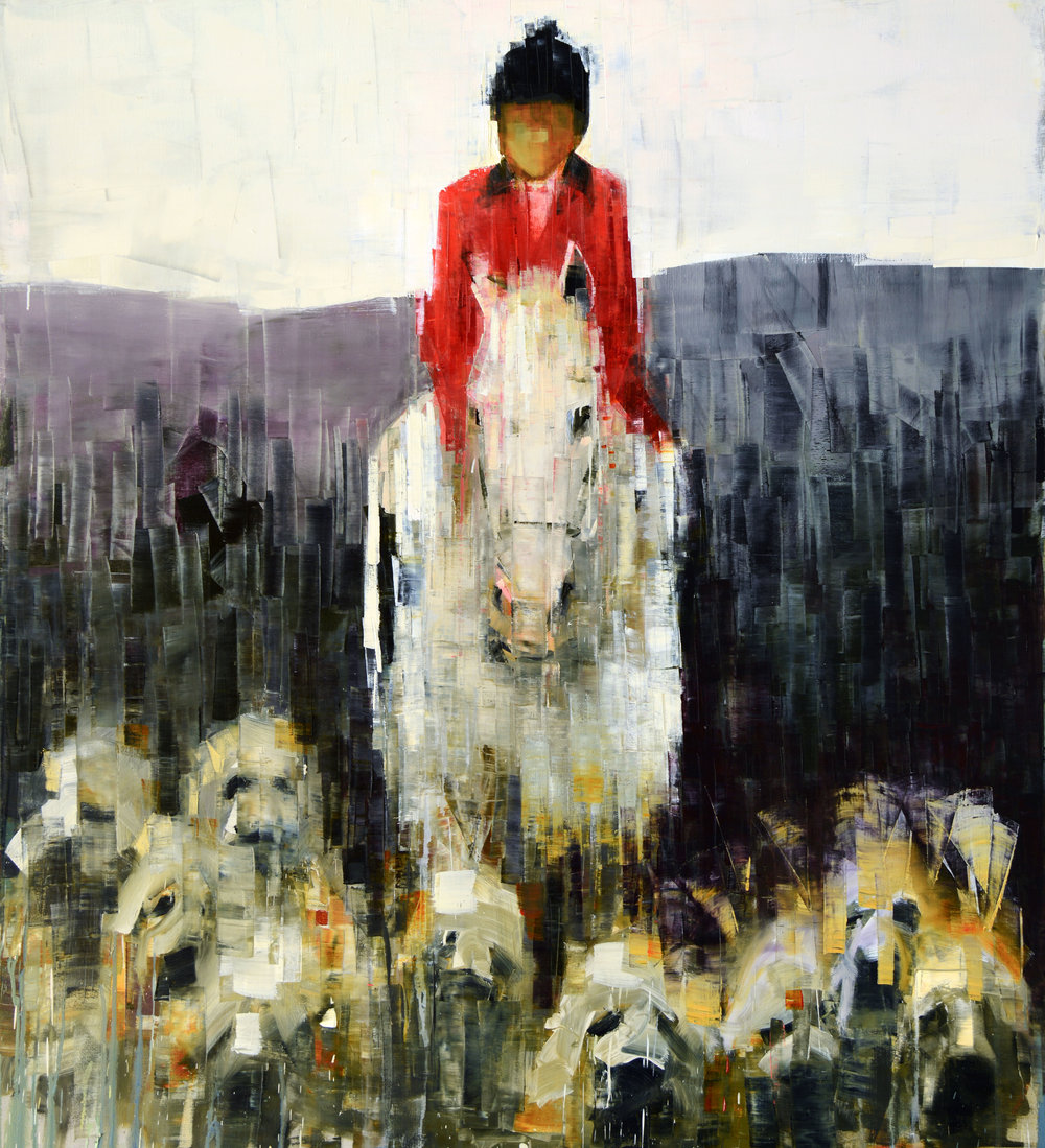 FOX HUNT (FOOTHILLS)   -PRIVATE COLLECTION-  64 x 58 inches  oil and wax on linen