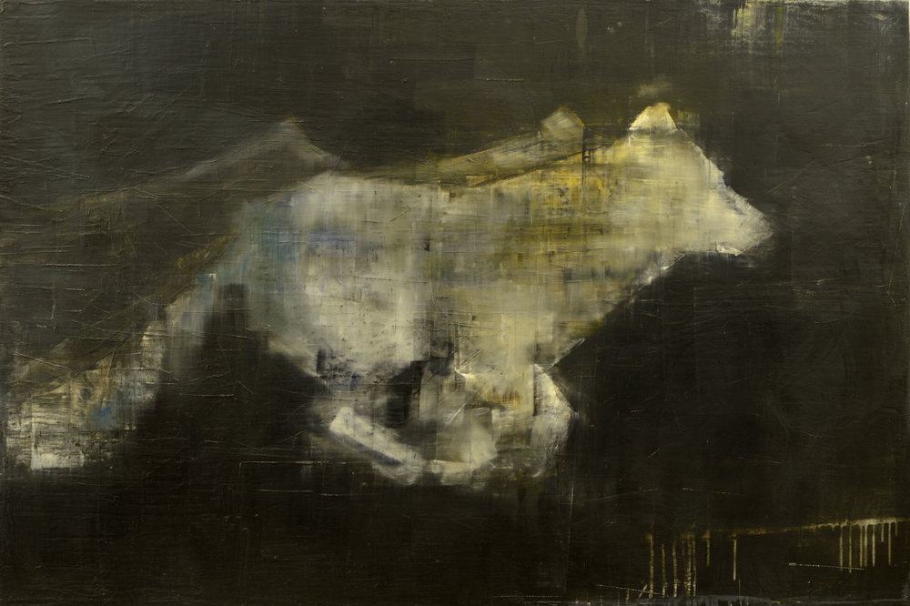 RUNNING WOLF   -PRIVATE COLLECTION-  40 x 60 inches  oil and wax on linen