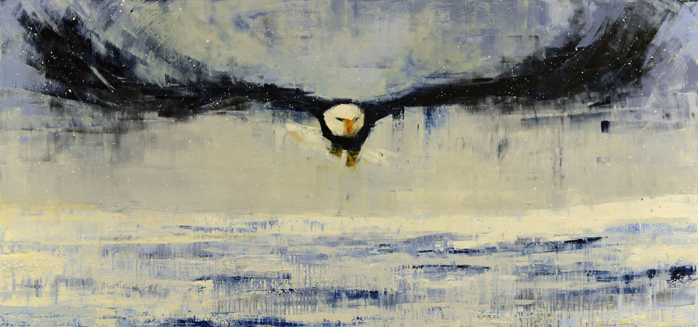 BALD EAGLE (WINTER SKY)   -PRIVATE COLLECTION-  50 X 106 inches  oil and wax on linen