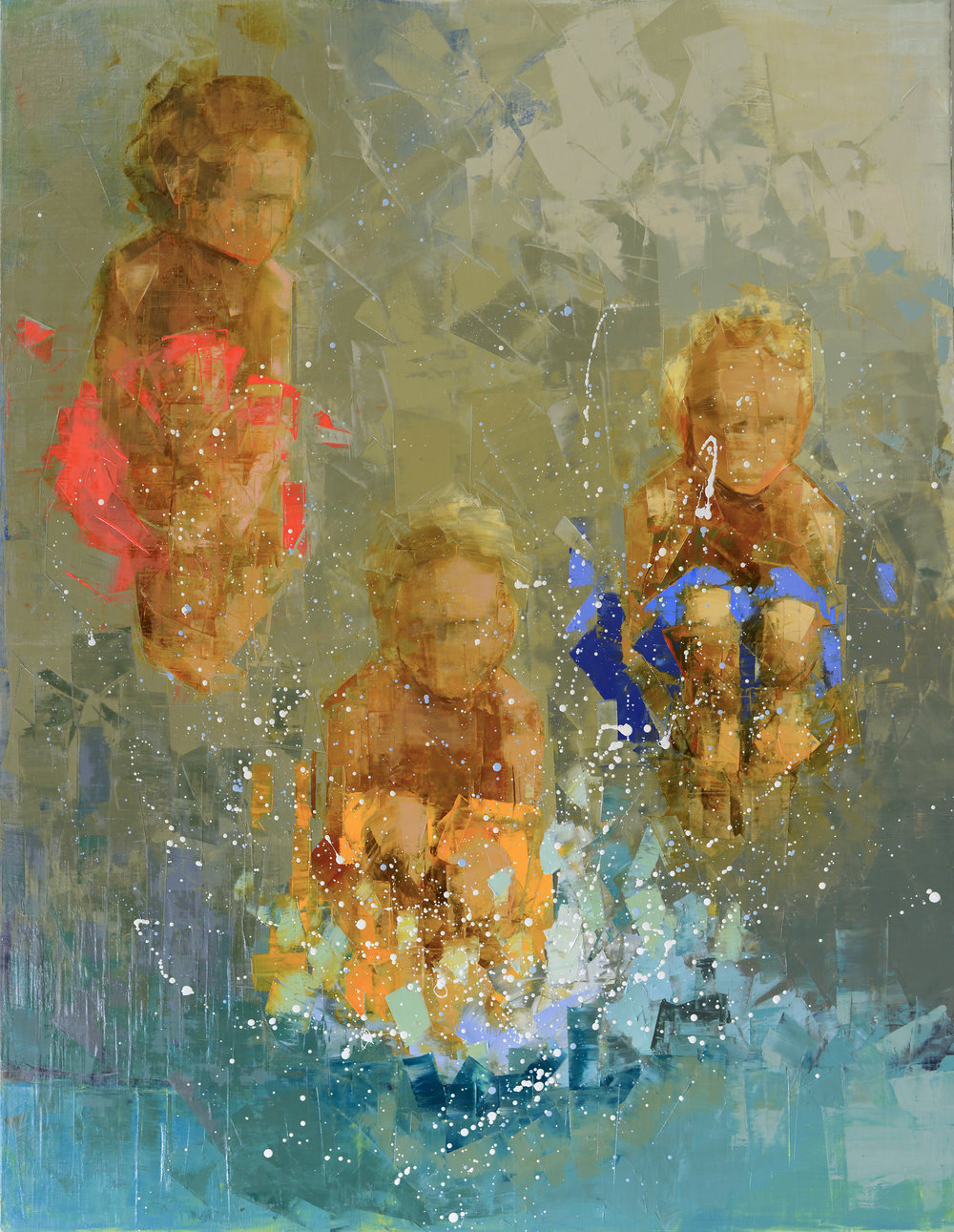 SWIMMING HOLE (CANNONBALL)   -PRIVATE COLLECTION-  70 x 54 inches  oil and wax on linen