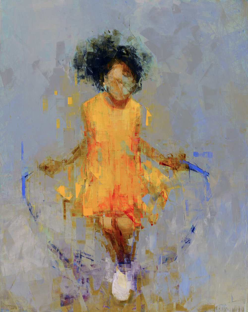 JUMP (GREY AND GOLD)   -PRIVATE COLLECTION-  60 x 48 inches  oil and wax on linen