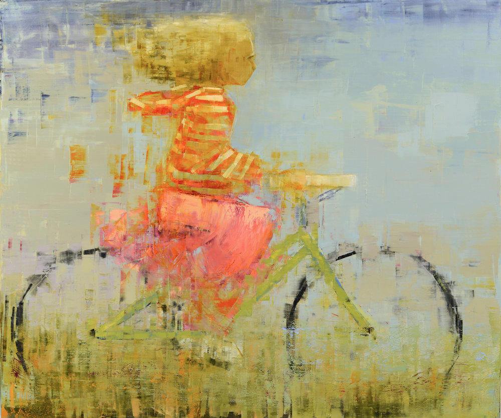 BICYCLE (HOODIE)   -PRIVATE COLLECTION-  59 x 70 inches  oil and wax on linen