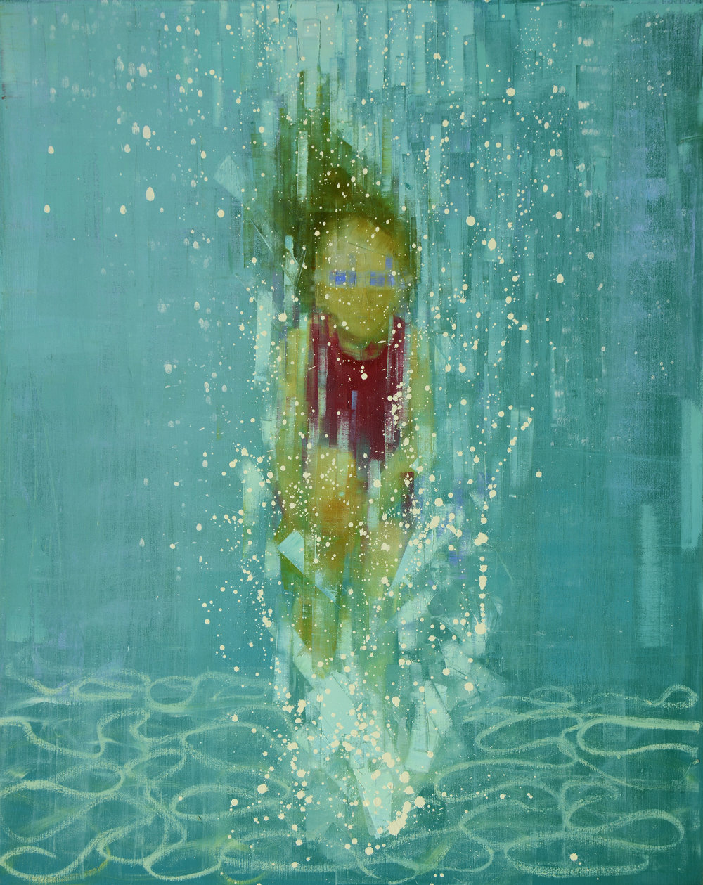 DEEP END (BLUE GOGGLES)   -PRIVATE COLLECTION-  60 x 48 inches  oil and wax on linen