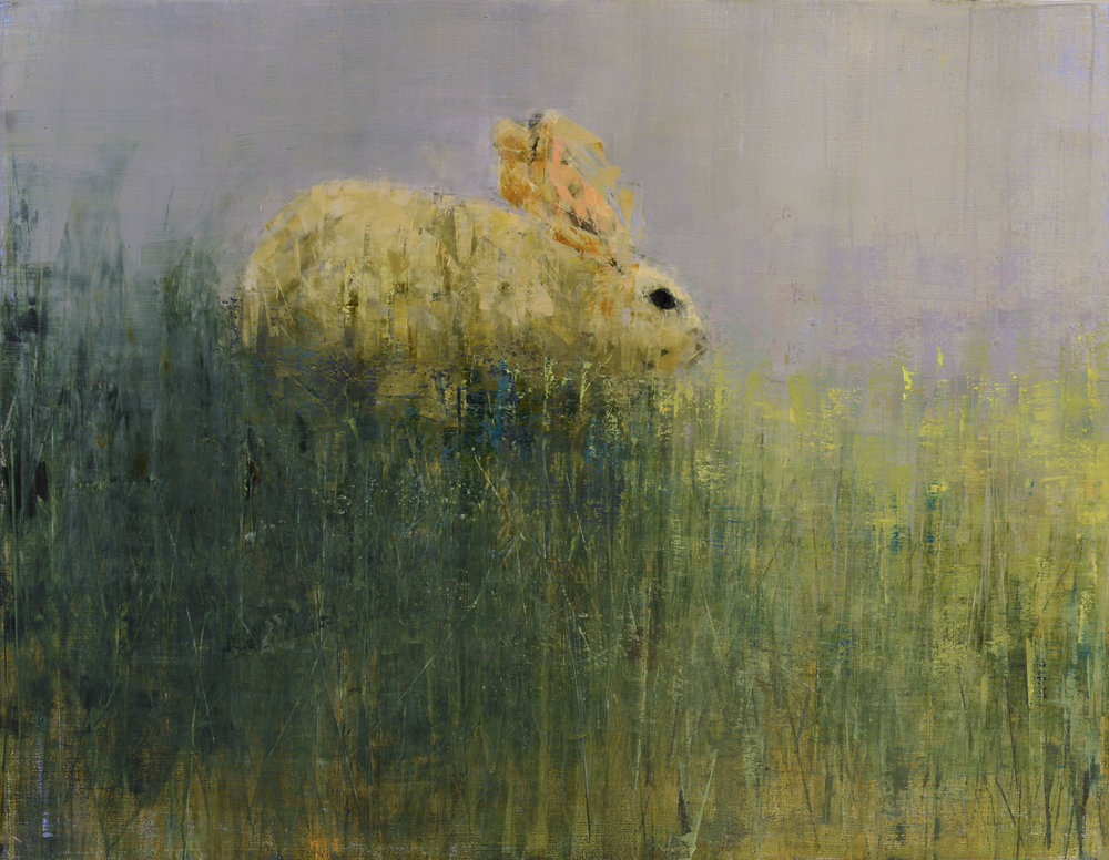 WHITE RABBIT (GREENER GRASS)   -PRIVATE COLLECTION-  42 x 54 inches  oil and wax on linen