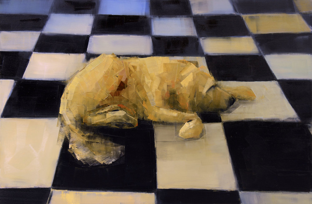 GOLDEN DOG DREAMING (KITCHEN)   -PRIVATE COLLECTION-  40 x 60 inches  oil and wax on linen