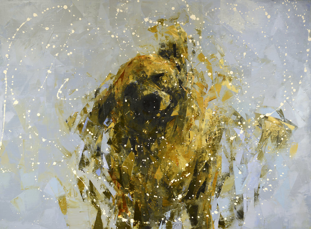 SHAKE (GOLD AND GREY)   -PRIVATE COLLECTION-  40 x 54 inches  oil and wax on linen