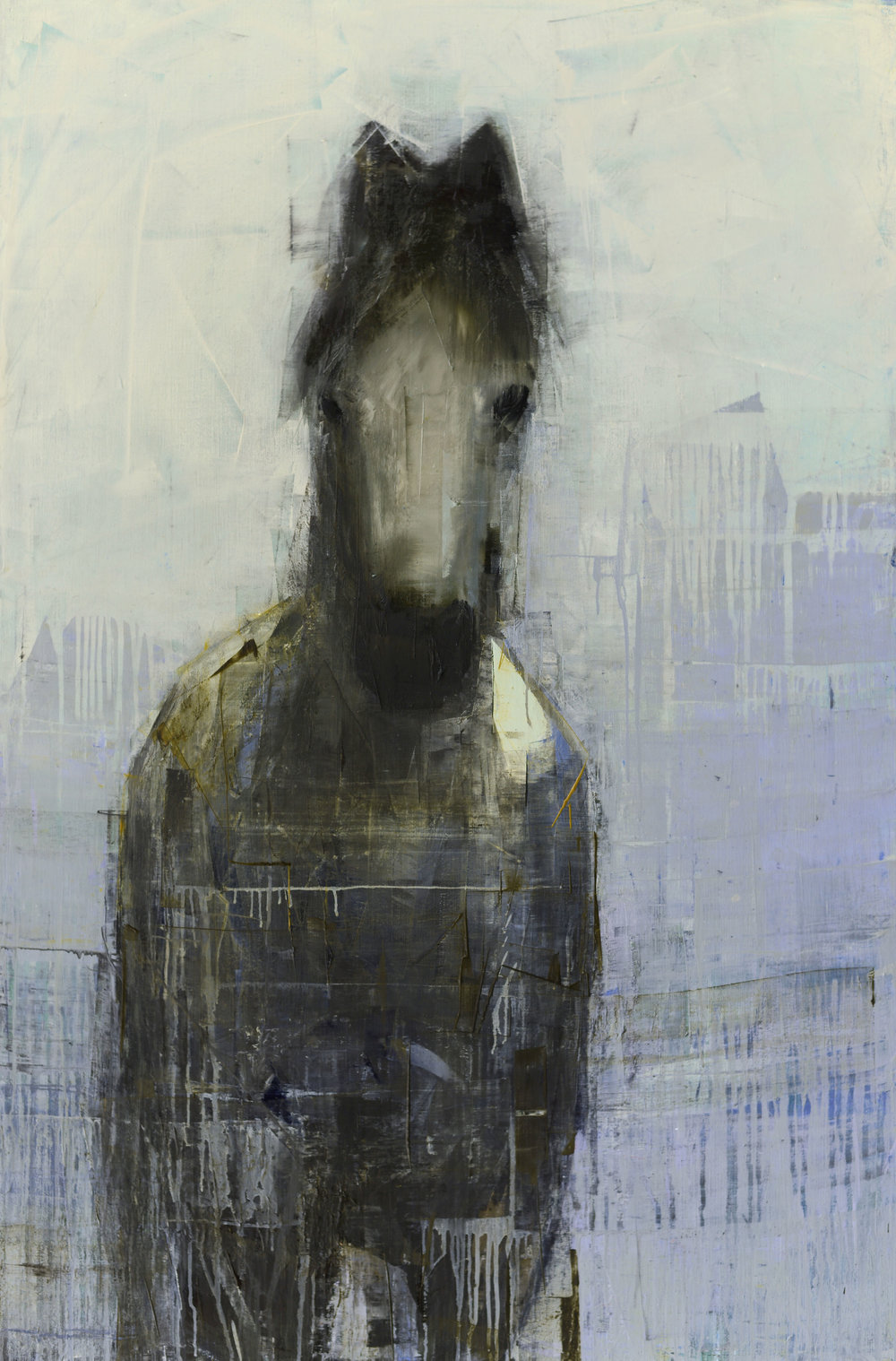 GREY MARE (BLUE GRASS)   -PRIVATE COLLECTION-  60 x 40 inches  oil and wax on linen