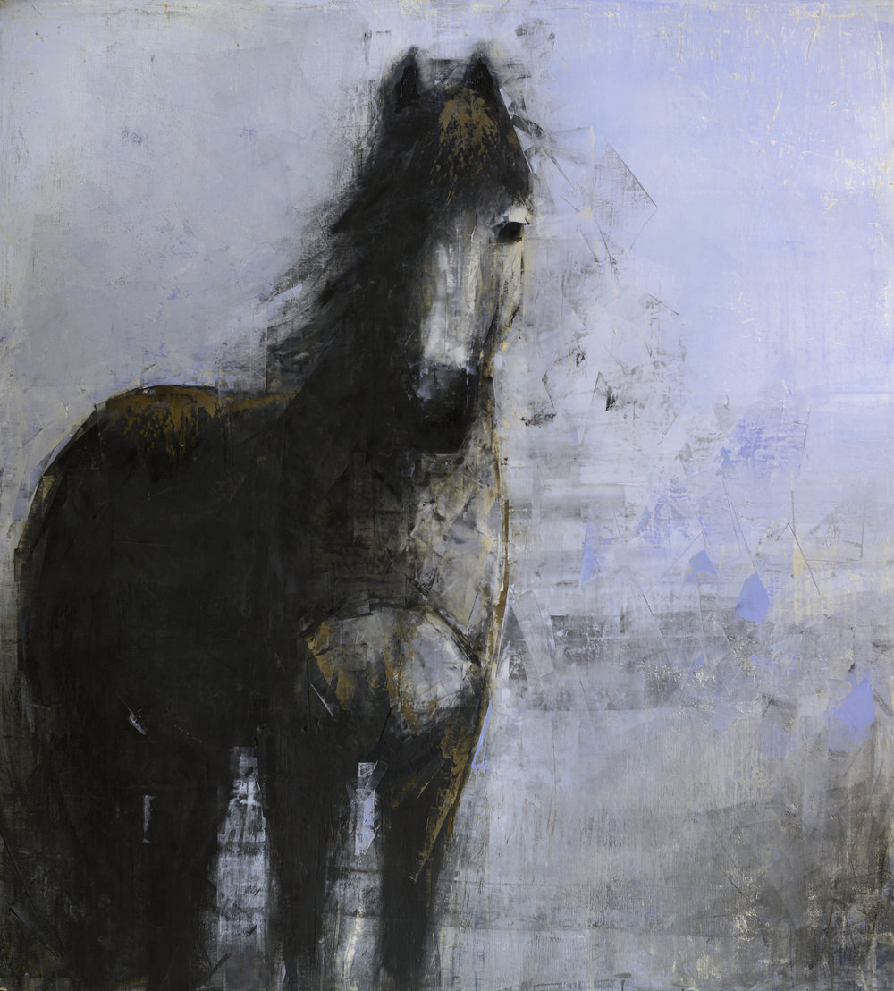 BLUE HORSE (ON BLUE)   -PRIVATE COLLECTION-  64 x 58 inches  oil and wax on linen