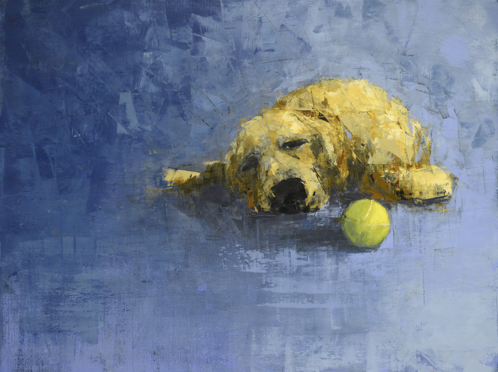 GOLDEN DOG DREAMING (TENNIS BALL)   -PRIVATE COLLECTION-  30 X 40 inches  oil and wax on linen