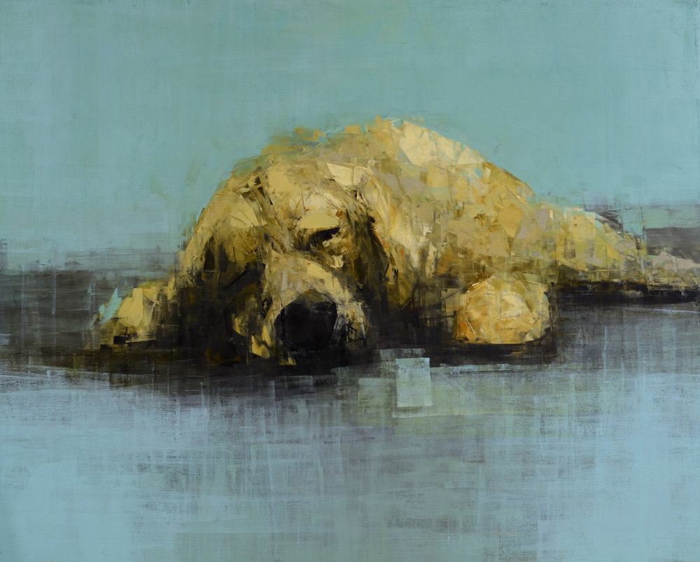 GOLDEN DOG DREAMING IN BLUE_48X60