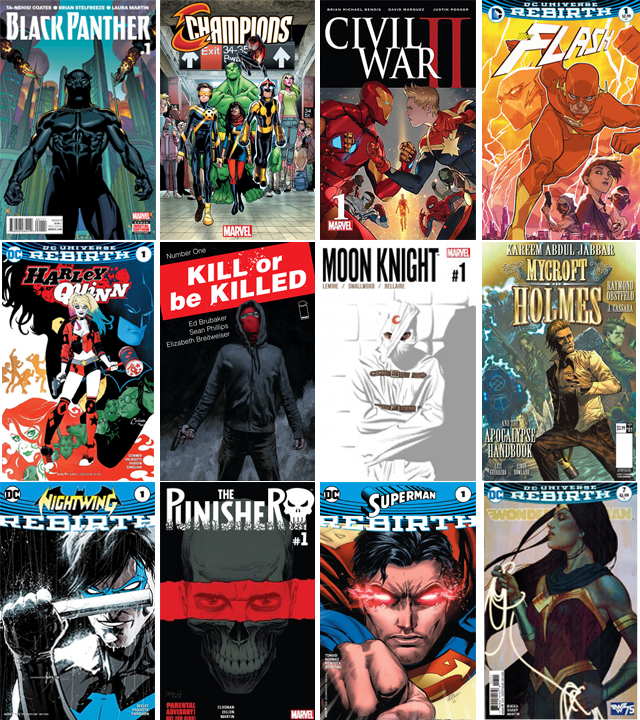 These are just a few of the runs I read this year (listed from left to right, descending rows; I have only read the issues I numbered). I didn't start until March of 2016, and lots of my paychecks have gone to my local comic book shops…