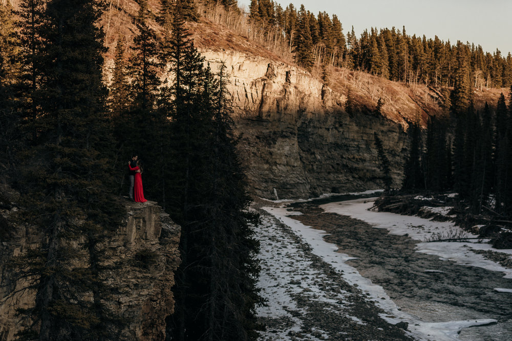 Elbow Falls Kananaskis engagement portrait