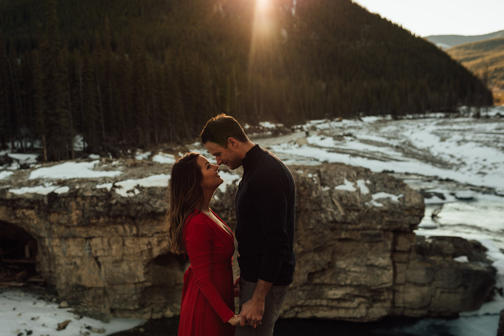 Bragg Creek mountain engagement portrait elbow falls