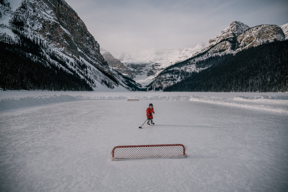 hockey player portrait lake louise