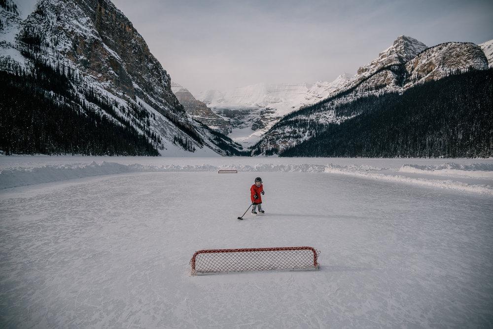 hockey player portrait lake louise