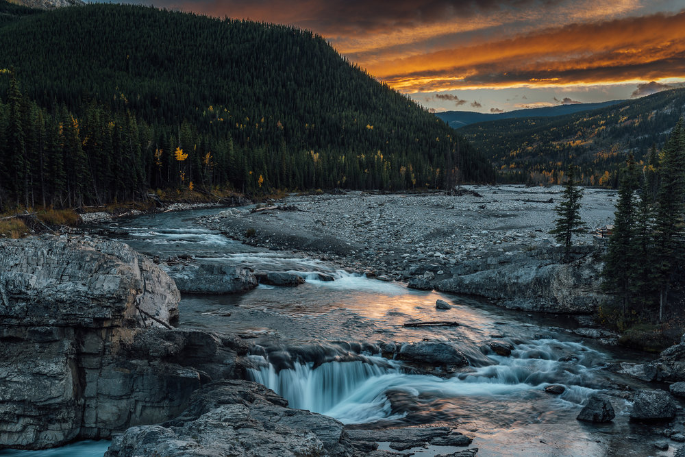 Elbow Falls landscape shot waterfall