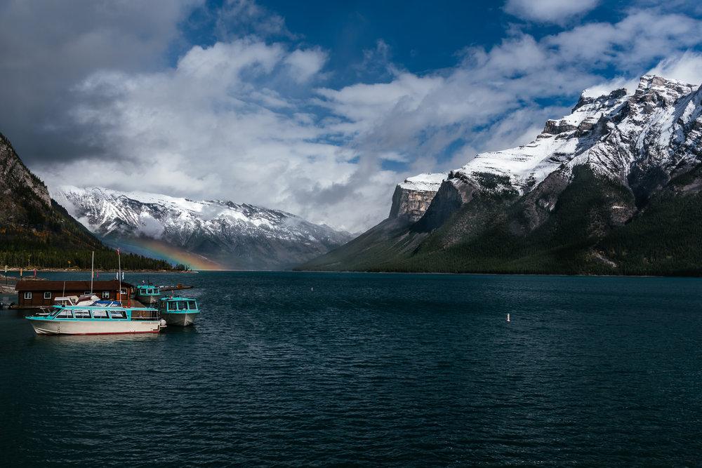 Lake Minnewanka landscape boats rainbow