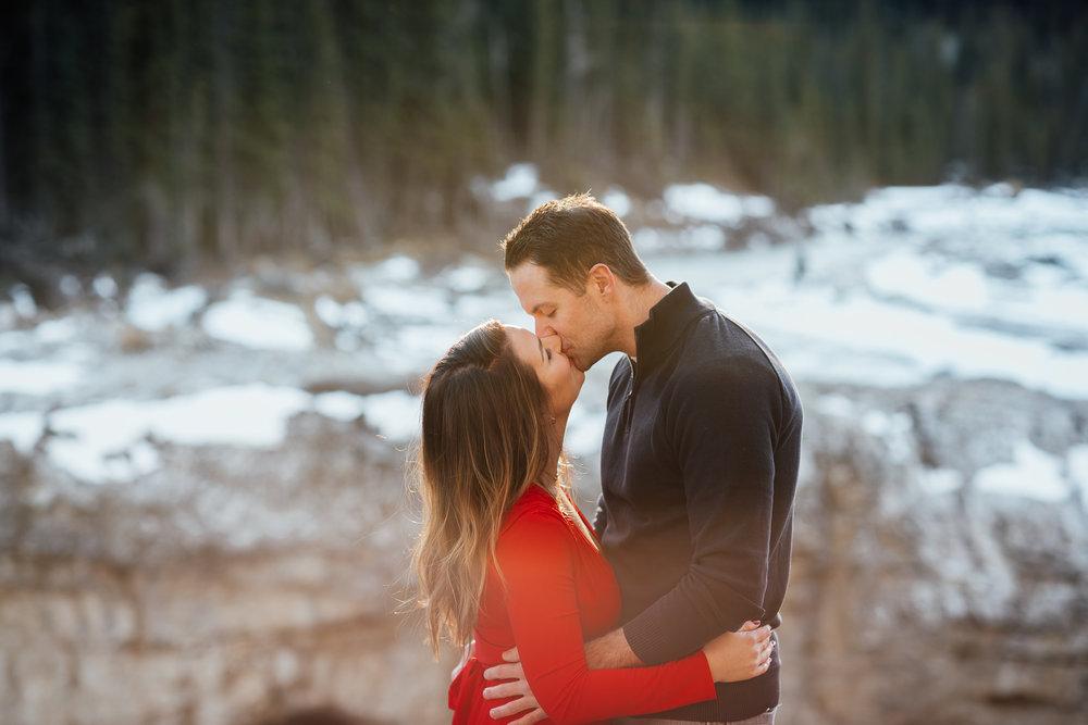 Elbow Falls Kananaskis Engagement portrait