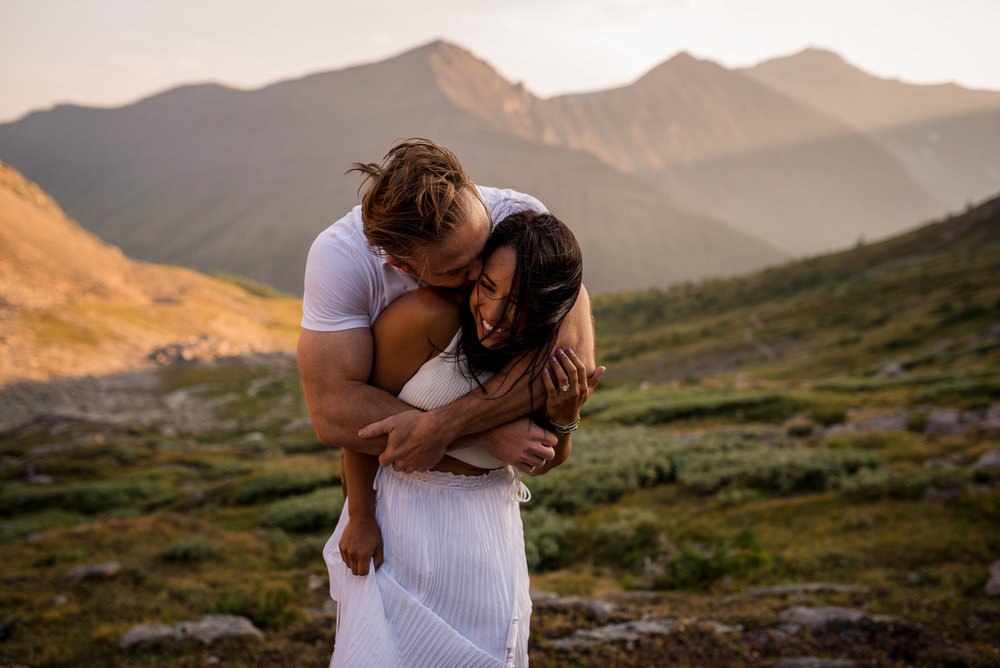 Kananaskis mountain engagement sunset gorgeous couple calgary wedding photographer banff rocky mountain photographer