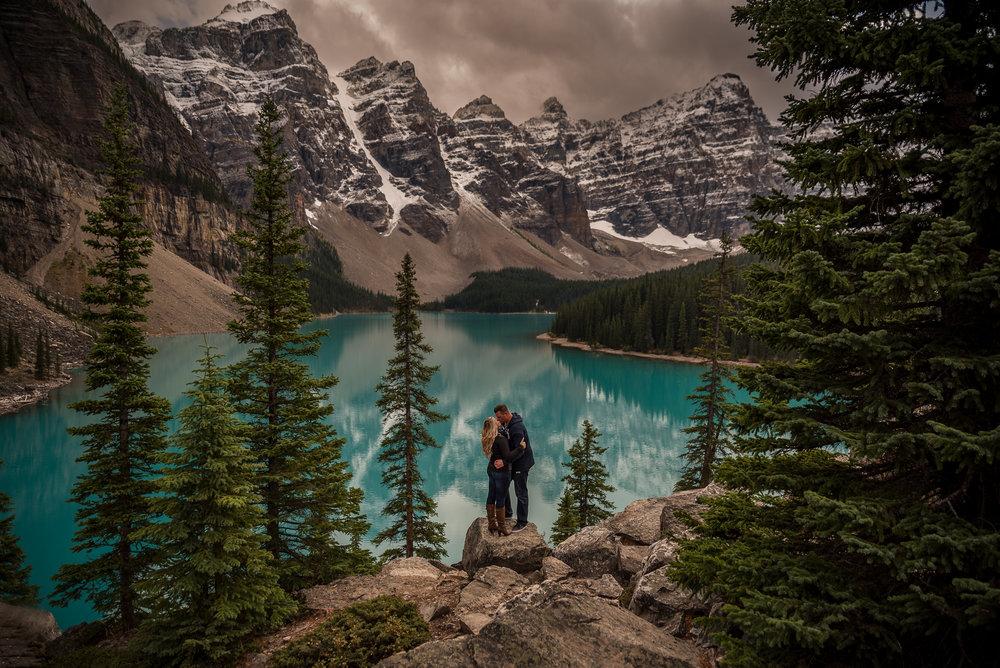 Moraine Lake couples shoot yyc wedding photographer rocky mountain wedding photographer engagement
