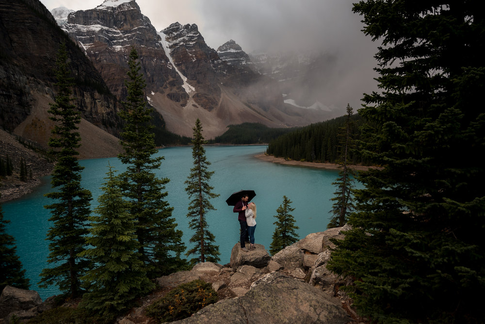 Moraine Lake engagement photos calgary wedding photographer banff rocky mountain wedding photographer