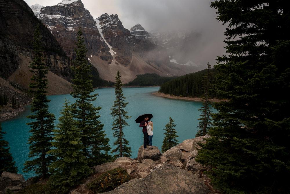 Moraine Lake engagement photos calgary wedding photographer banff rocky mountain wedding photographer