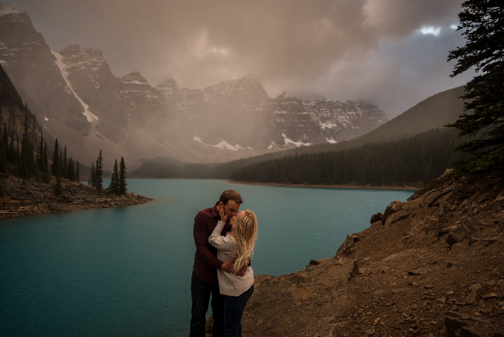 moraine lake engagement photos calgary wedding photographer banff rocky mountain canadian wedding photographer