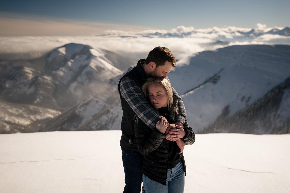 Kananaskis mountain helicopter engagement calgary wedding photographer