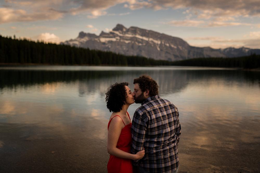 two jack lake banff mountain engagement calgary banff wedding photographer