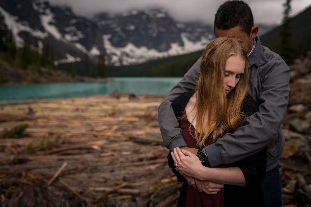 Moraine Lake Engagement photos banff and calgary wedding photographer