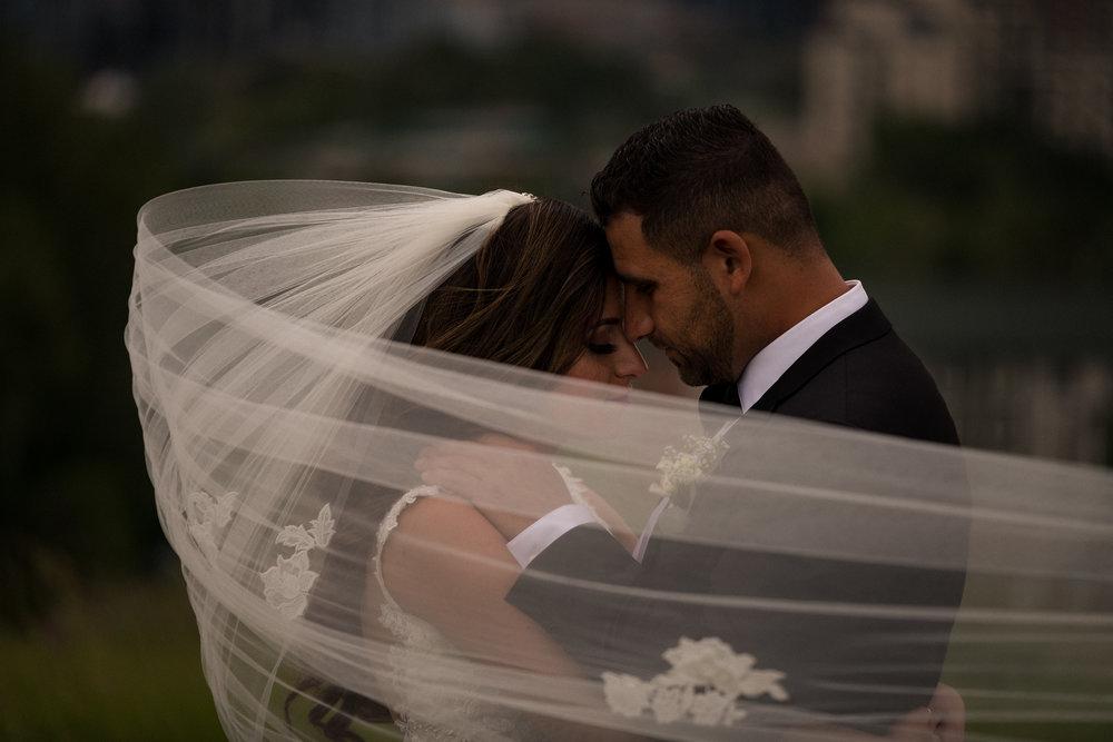 calgary wedding photographer epic veil shot intimate
