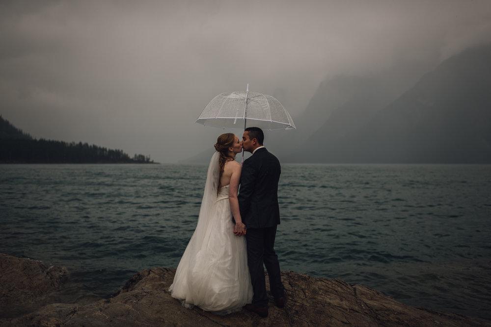 Lake Minnewanka wedding calgary wedding photographer banff wedding photographer